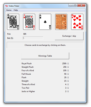 Video Poker using tkinter